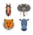 set of african animals geometric of tiger vector image