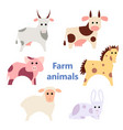 set of farm animals white vector image