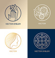 set of linear logo design templates and icons vector image vector image