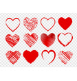 set of red hearts for valentines day on vector image vector image