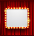 shining party banner on red curtain background vector image vector image
