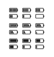 Simple black icons of batteries with different