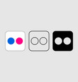 social media icon set for flickr in different vector image vector image