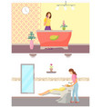 spa salon and hair styling procedures set vector image vector image