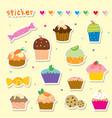 sticker cupcake cartoon cute vector image vector image