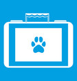 suitcase for animals icon white vector image vector image