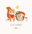 thanksgiving cute forest animals vector image vector image
