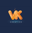 vk letter with origami triangles logo creative vector image vector image
