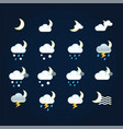 weather icons sun and clouds in night sky rain vector image vector image