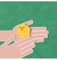 young chicken in hand vector image vector image