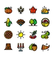 Thin line Thanksgiving icons vector image