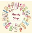 Beauty shop cosmetic label doodle frame vector image vector image