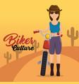 biker culture biker woman riding motorbike vector image vector image