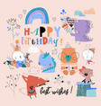 birthday set with cute animals celebrating holiday vector image