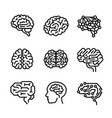 brain icon set outline style vector image