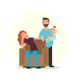 cartoon character family tired mom and dad vector image
