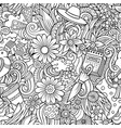cartoon doodles spring seamless pattern vector image