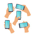cartoon hands and mobile phone hand man vector image