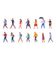 characters people walking down street vector image