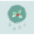 Christmas and New Year round frame with holly vector image vector image