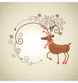Christmas deer and frame for text vector image vector image