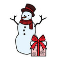 christmas snowman icon vector image vector image