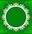 Circle Green Background New Year Snow Snowflake vector image
