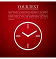 Clock flat icon on red background Adobe vector image vector image