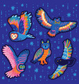 collection decorative stickers with owls vector image