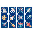 cosmos icons set cartoon spacecrafts alien vector image