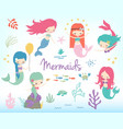 cute little cartoon mermaids clip art vector image vector image