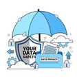 data safety cloud shield folder paper umbrella vector image vector image