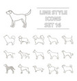 dog breeds set icons in outline style big vector image vector image