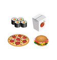 fast food realistic set isolated burger pizza vector image vector image