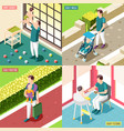 fathers on maternity leave 2x2 design concept vector image vector image