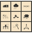 Flat in black and white concept business icons vector image vector image