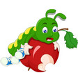 funny green caterpillar eating red apple cartoon vector image vector image