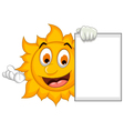 funny sun cartoon holding blank sign vector image vector image