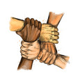 group people united hands together expressing vector image