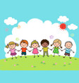 hand drawn cartoon kids holding hands together vector image vector image