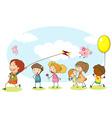 Happy kids playing in the garden vector image vector image