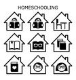 homeschooling icons set home education vector image