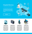 isometric hospital icons landing page vector image vector image