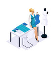 isometric tailor makes fitting the dresses on the vector image vector image