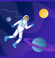 male astronaut in outer space vector image