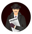 mysterious private detective with confidential vector image vector image
