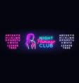 night club neon logo flamingo neon sign vector image vector image