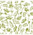 Olives branches and olive oil seamless wallpaper vector image vector image