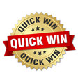 quick win round isolated gold badge vector image vector image