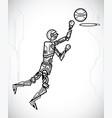 robot playing basketball vector image vector image